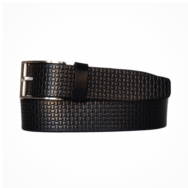 Black Formal Textured 100% Real Leather Belt Made in Canada