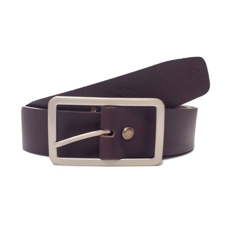 Lucille - Brown Leather Dress Belt with Rectangle Buckle - Made in Canada