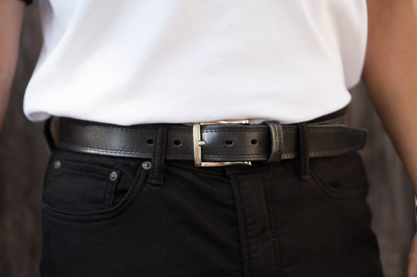 Black Formal 100% Real Leather Belt Made in Canada
