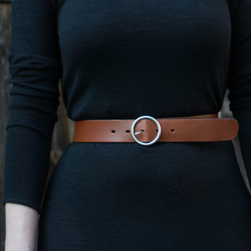 High-Waisted Full Grain Leather Belt with Circular Buckle Made in Canada