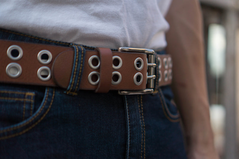 Brown Double Grommet 100 % Real Leather Belt Made in Canada