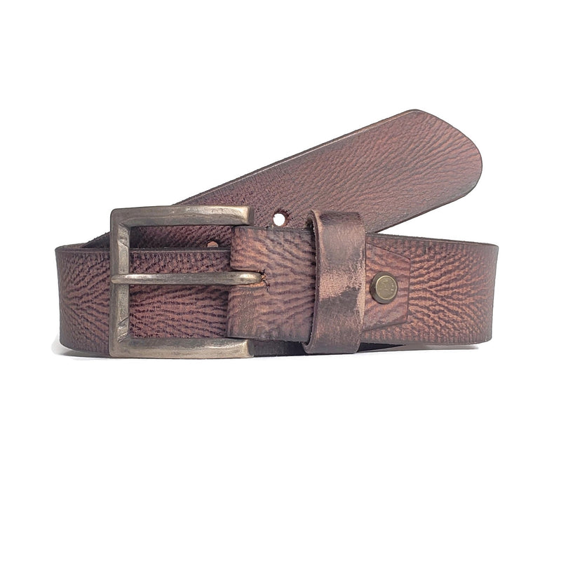 Brown Vein Patterned 100% Real Leather Belt Made in Canada - Nab Leather Co