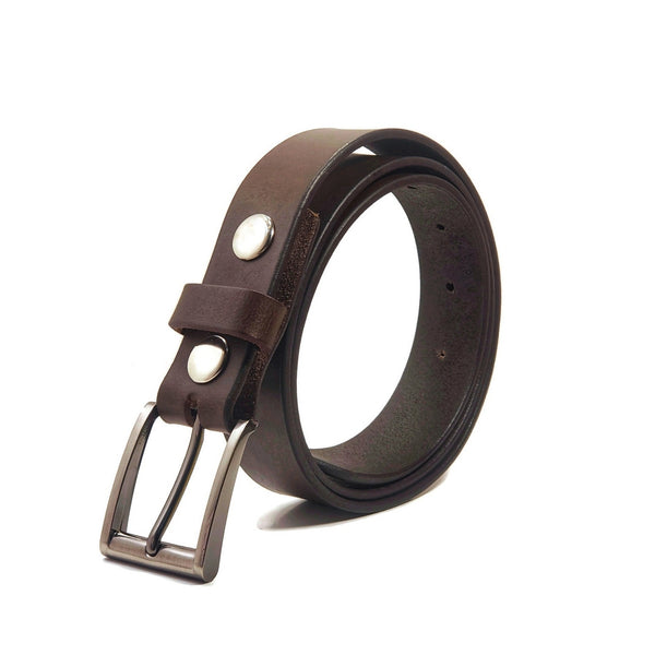 A dark brown 100% genuine leather belt for dress pants with a silver belt buckle.