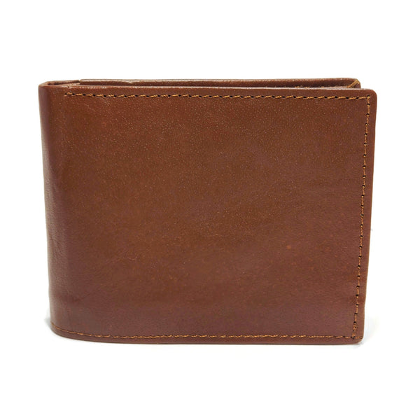 Men's Brown Smooth Genuine Leather Wallet with RFID Blocking (Anti-Theft) and ID Window - Nab Leather Co