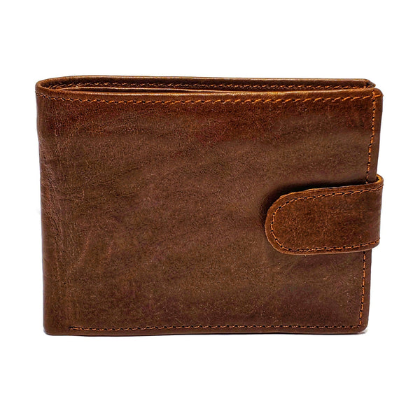 Men's Brown Smooth Genuine Leather Wallet with RFID Blocking (Anti-Theft) and Button Strap - Nab Leather Co