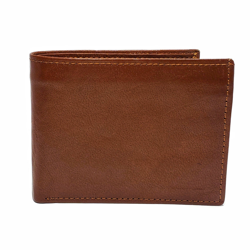 Men's Light Brown Smooth Genuine Leather Wallet with RFID Blocking (Anti-Theft) and ID Window - Nab Leather Co