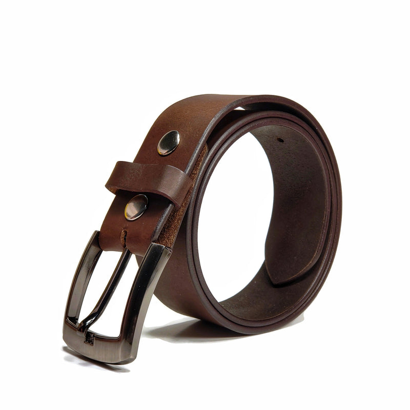 Brown genuine leather belt for jeans with a wide belt buckle