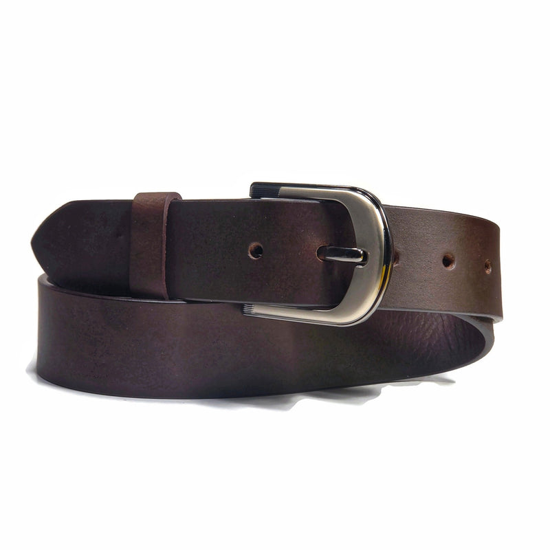 Brown genuine leather belt for jeans folded