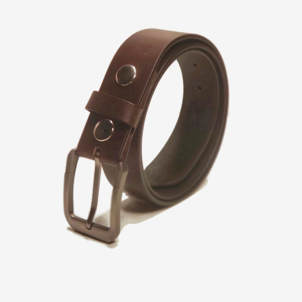 A brown genuine leather belt for dress pants
