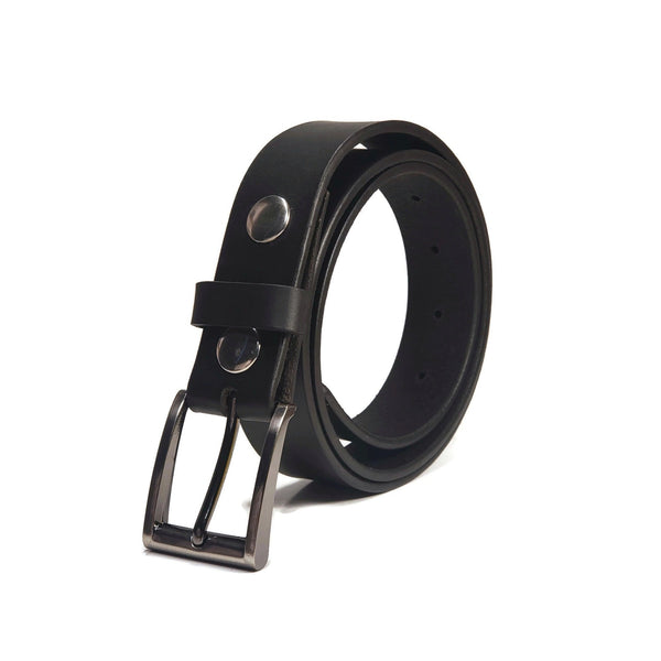 A black 100% genuine leather belt for dress pants with a silver belt buckle.