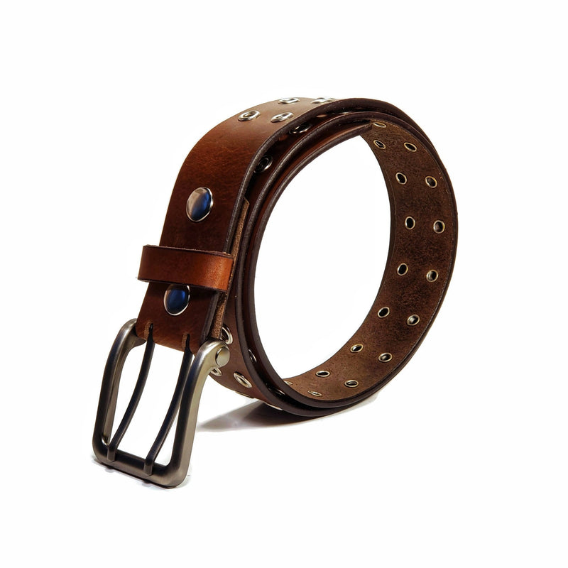 Double hole 100 % Genuine Leather Belt (Black, Brown) - Nab Leather Co