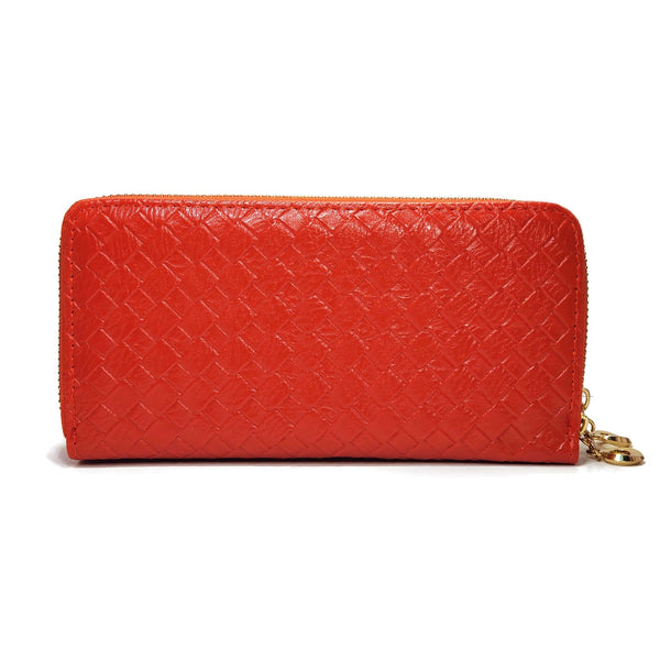 Red diamond patterned wallet for women with double zippers
