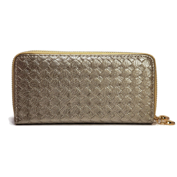 Silver patterned wallet for women with two zippers