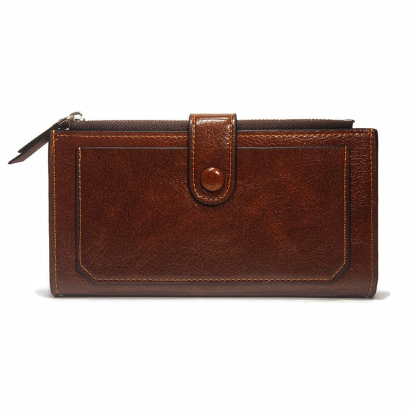 Women's Smooth PU Leather Buttoned Strap Wallet - Nab Leather Co