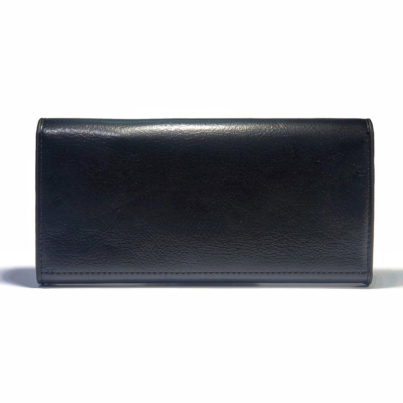 Women's Smooth PU Leather Buttoned Wallet with Interior Zipper - Nab Leather Co