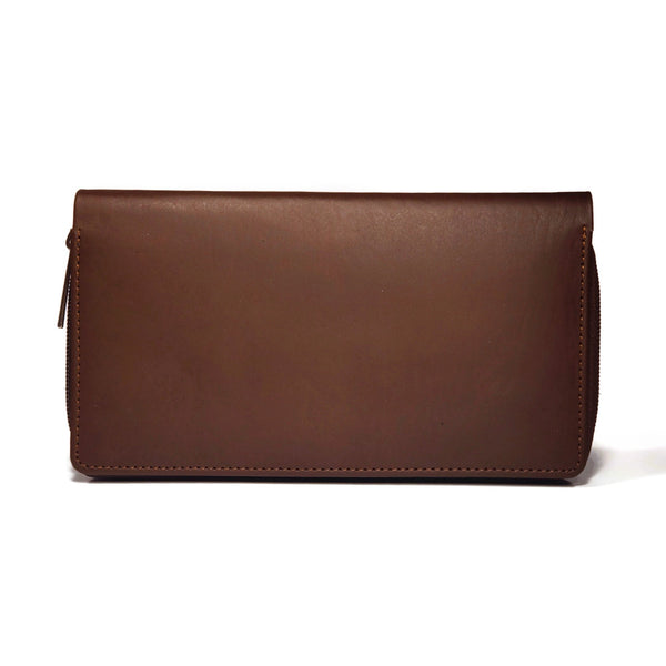 Brown genuine leather wallet for women