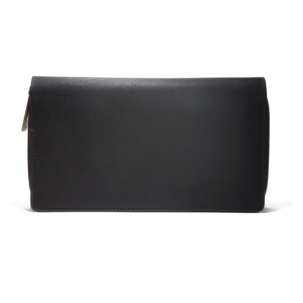 High quality black leather wallet for women