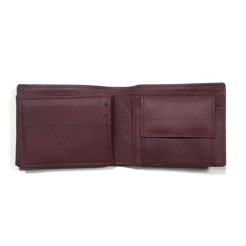 Men's Burgundy Smooth Genuine Leather Wallet with RFID Blocking and Interior Coin Pouch - Nab Leather Co