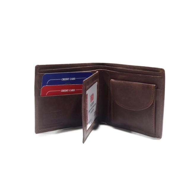 Men's Milk Chocolate Brown Smooth Genuine Leather Wallet with RFID Blocking (anti-theft) and Coin Pouch - Nab Leather Co