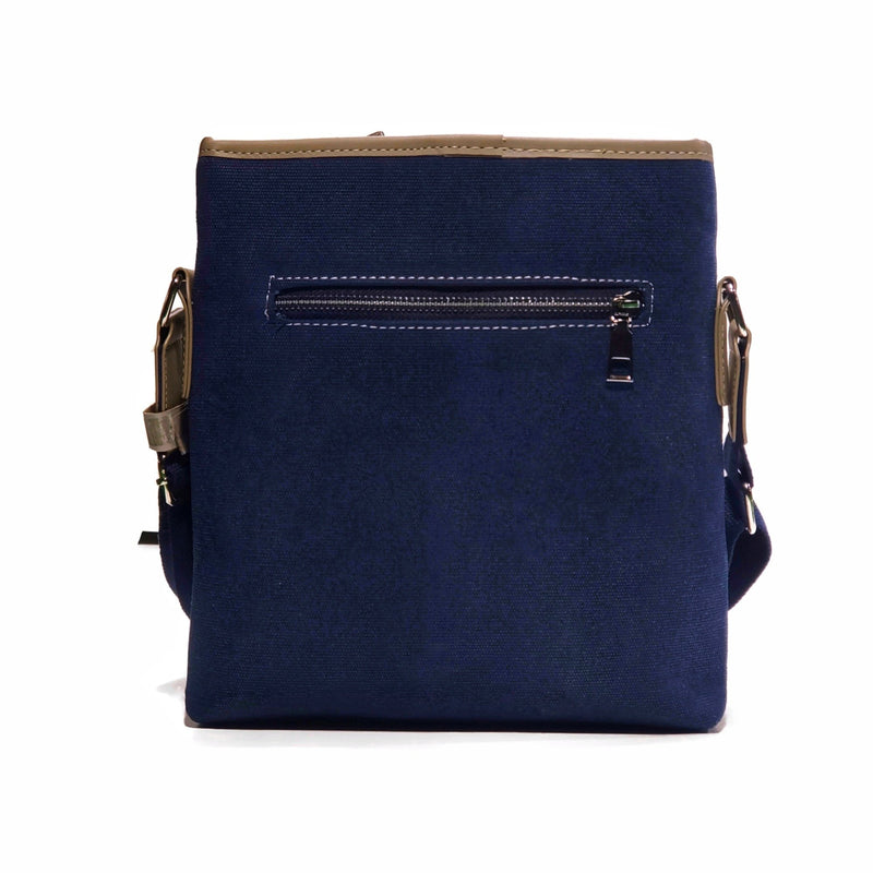 Blue Cloth Messanger Bag with PU Leather Straps - Nab Leather Co