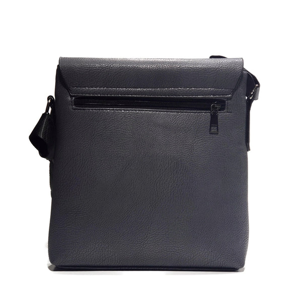 Grey PU Leather Messenger Bag - Nab Leather Co