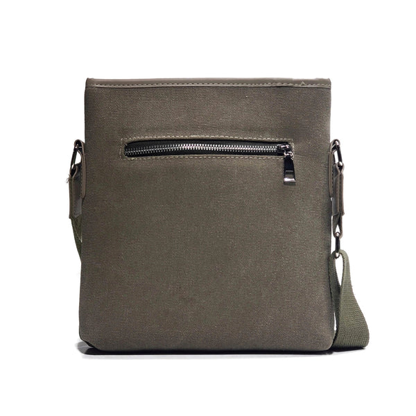 Khaki Cloth Bag with Leather Straps - Nab Leather Co