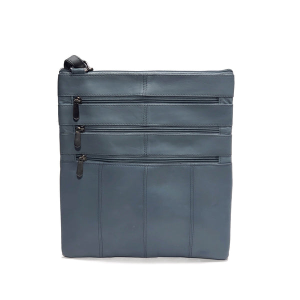 Grey 100% Genuine Leather Side Bag - Nab Leather Co