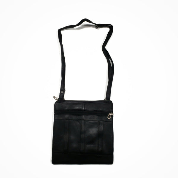 Small Black 100% Genuine Leather Side Bag - Nab Leather Co