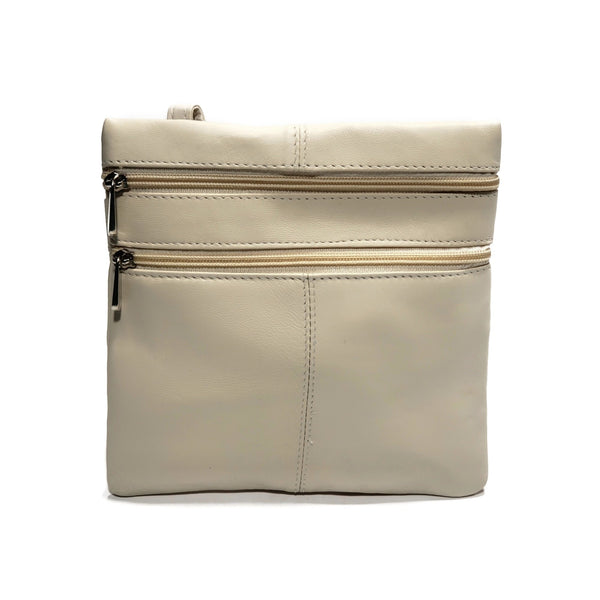 Small Beige 100% Genuine Leather Side Bag - Nab Leather Co