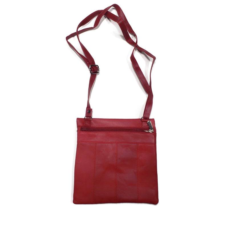 Small 100% Genuine Leather Side Bag with Double Zippers - Nab Leather Co