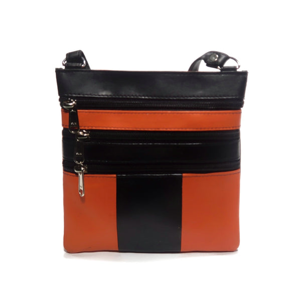 Slim, small, orange cross body bag