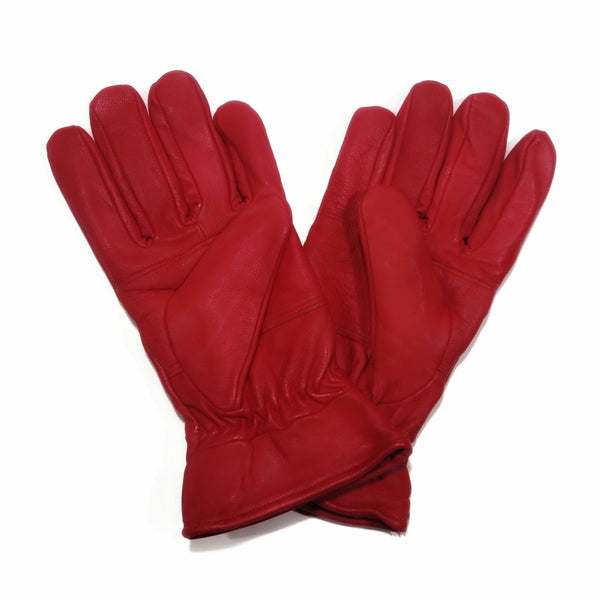 Women's Red Genuine 100% Leather Gloves - Nab Leather Co