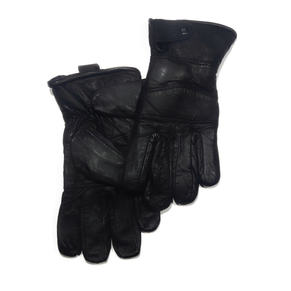 Men's Black Genuine 100% Leather Buttoned Gloves - Nab Leather Co