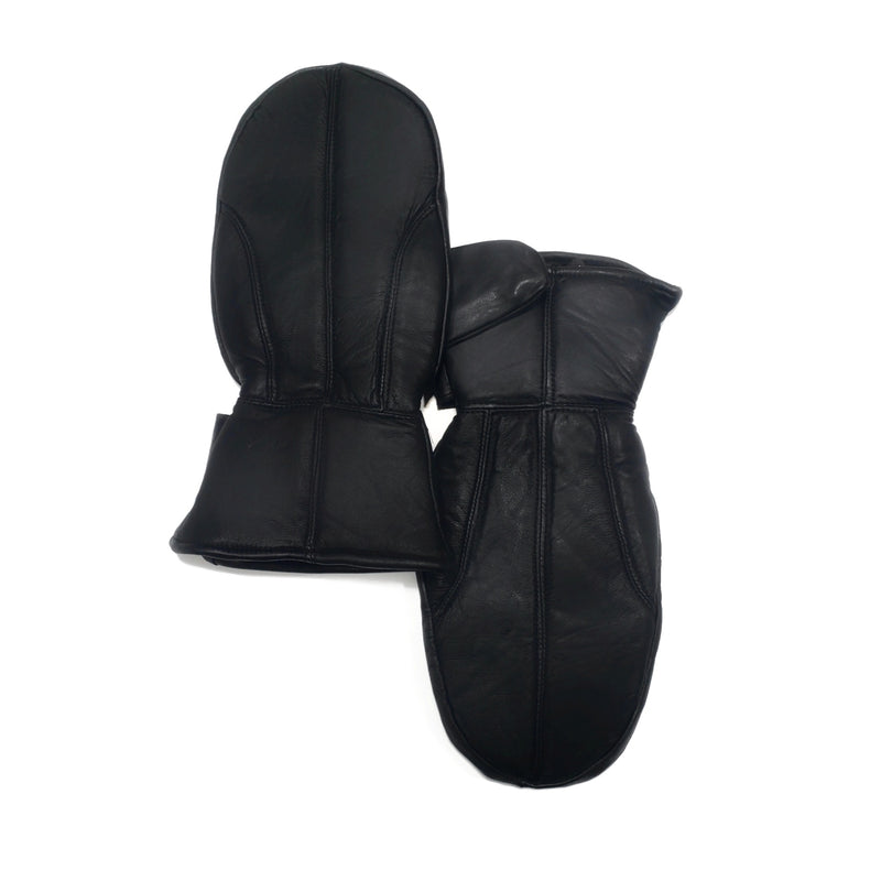 Women's Black 100% Genuine Leather Mittens - Nab Leather Co