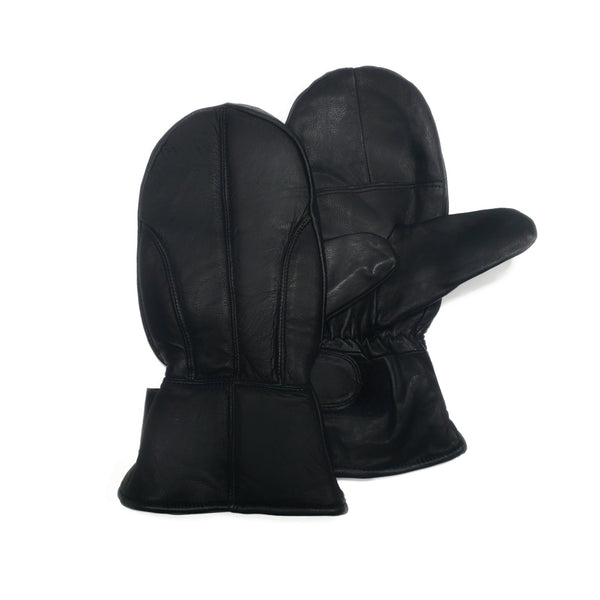 Men's Black 100% Genuine Leather Mittens - Nab Leather Co