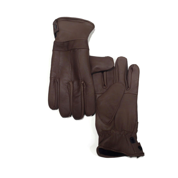 Men's Brown 100% Genuine Leather Gloves - Nab Leather Co
