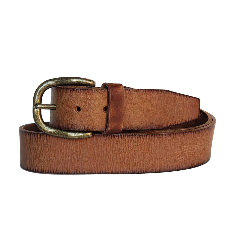 Tan Colored 100% Real Leather Belt Made in Canada - Nab Leather Co