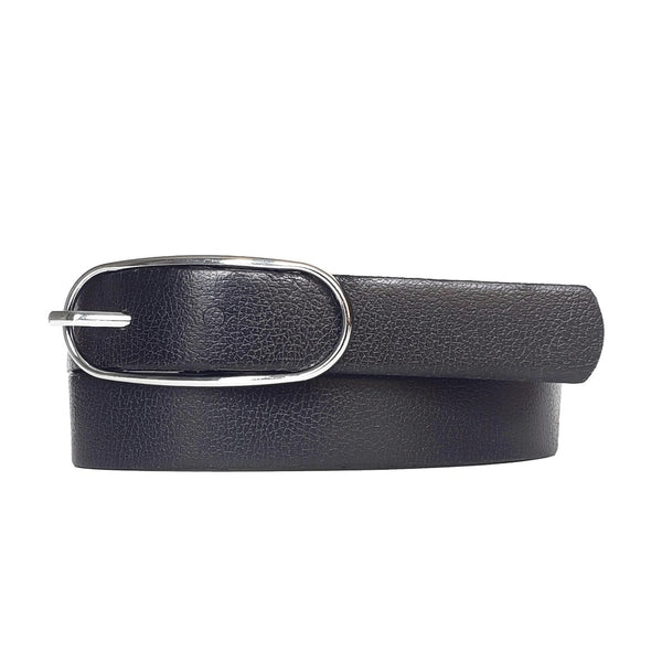Aika - Black Leather Waist Belt with Oval Buckle - Made in Canada