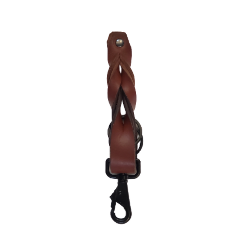 Cognac Full Grain Braided Leather Keychain - Made in Canada