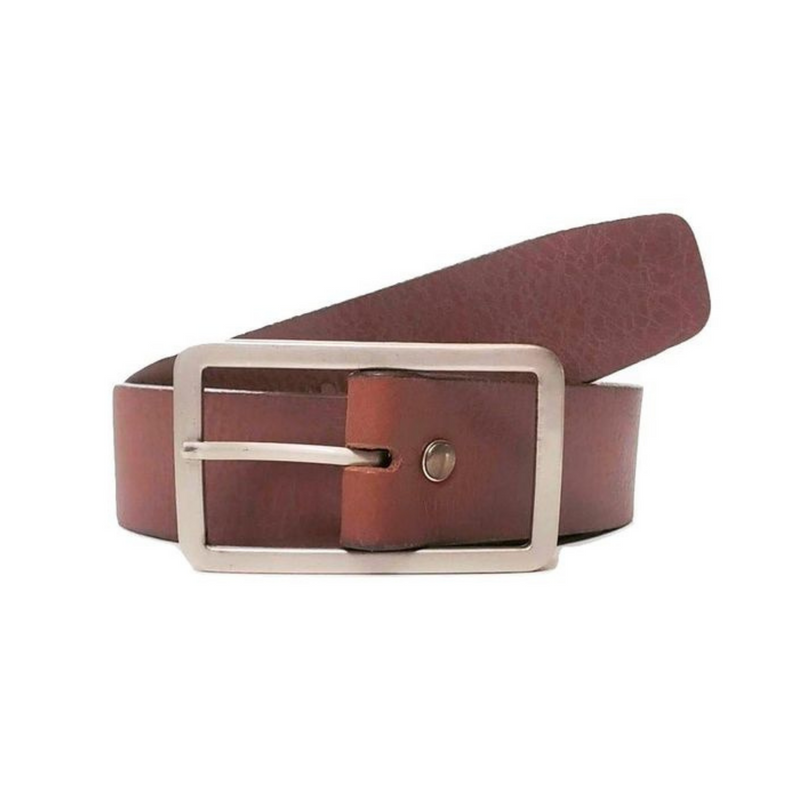 Women's Cognac Full Grain Leather Dress Belt with Rectangle Buckle Made in Canada