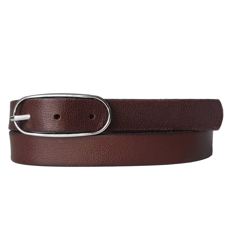 Brown Full Grain Leather Waist Belt with Oval Buckle Made in Canada
