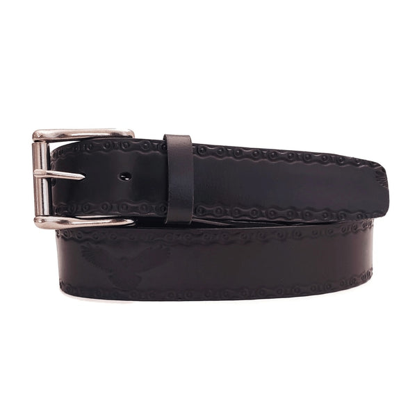 Black Eagle Embossed 100% Real Leather Belt Made in Canada