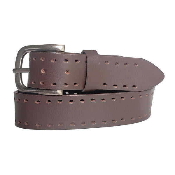 Brown Double Holed 100% Real Leather Belt Made in Canada