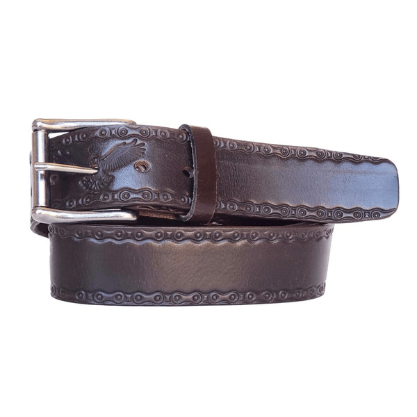 Brown Eagle Embossed 100% Real Leather Belt Made in Canada