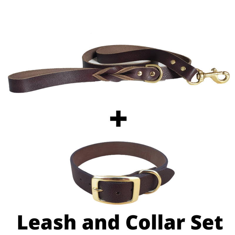 Brown Leather Dog Leash and Collar Set - Made in Canada