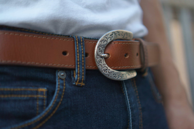 Brown Western Style 100% Real Leather Belt Made in Canada