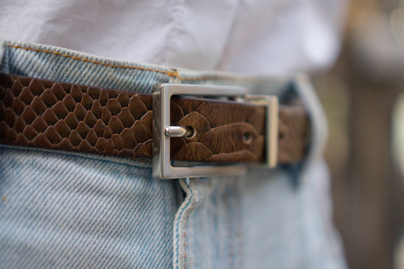 Slim Snake Embossed Full Grain Leather Belt Made in Canada
