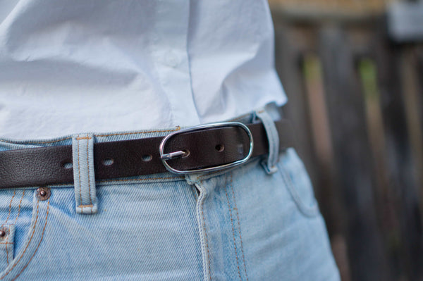 Aika - Brown Leather Waist Belt with Oval Buckle - Made in Canada
