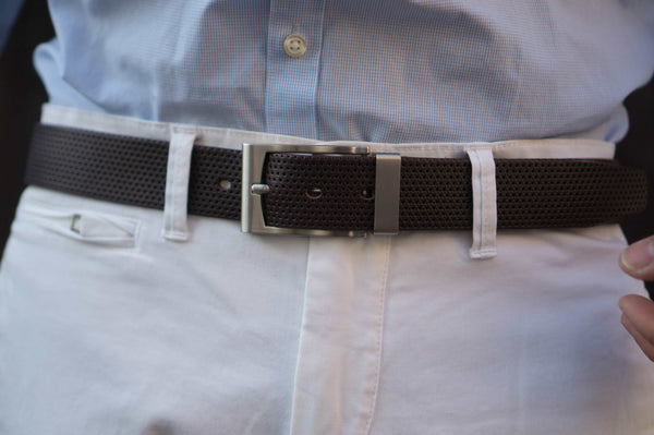 Two Toned Dot Patterned 100 % Real Leather Belt Made in Canada