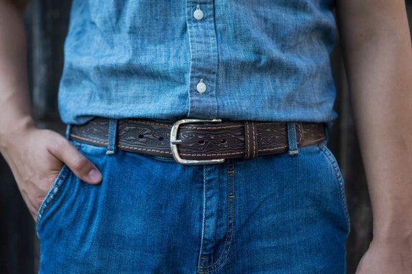 Brown Artistic 100% Real Leather Belt Made in Canada